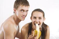 Free Couple Eating Banana Stock Image - 15129441