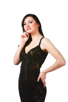 Pretty Young Woman In Black Dress Royalty Free Stock Images