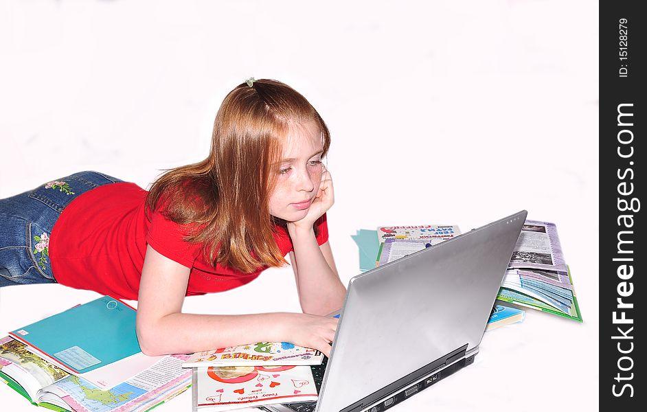 Girl teenager  doing lessons