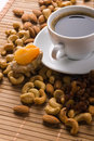 Free Coffee With Nuts, Fig And Dried Apricots Royalty Free Stock Photo - 15139655