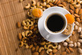 Free Coffee With Nuts, Fig And Dried Apricots Royalty Free Stock Photography - 15139657