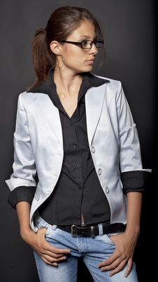 Free Girl In A Satin Jacket Stock Image - 15130241