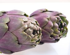 Free Two Artichokes On White Bacground. Stock Image - 15130331
