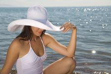 Free Girl In White Hat Royalty Free Stock Photos - 15131128