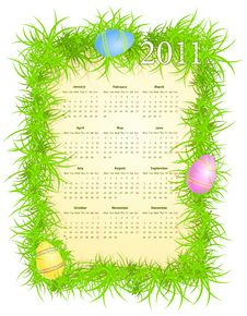Free Vector Illustration Of Easter Calendar 2011 Royalty Free Stock Photos - 15131918