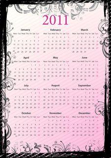 European Vector Floral Grungy Calendar 2011 Royalty Free Stock Photography