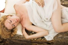 Sleeping Blonde Woman Stock Photos