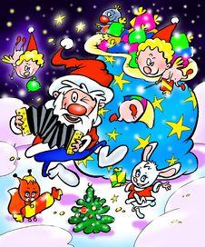 Dancing Christmas Santa Claus Stock Photo