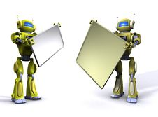 Free Robot With Empty Billboard Royalty Free Stock Photos - 15134018