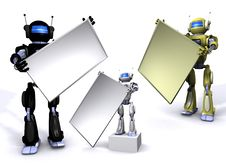 Free Robot With Empty Billboard Royalty Free Stock Image - 15134236