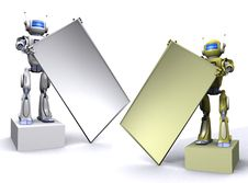 Free Robot With Empty Billboard Stock Photography - 15134492