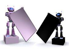 Free Robot With Empty Billboard Royalty Free Stock Images - 15134579