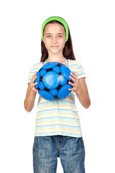 Free Adorable Little Girl With Soccer Ball Stock Image - 15135831