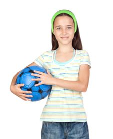 Free Adorable Little Girl With Soccer Ball Royalty Free Stock Photography - 15135887