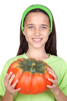 Free Happy Girl In Halloween With A Big Pumpkin Stock Images - 15136294