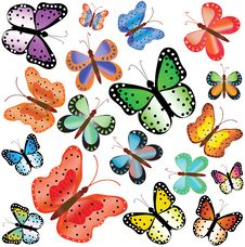 Free Motley Butterflies Of Different Size Royalty Free Stock Photo - 15137835