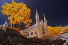 Historical Church And Yellow Leafs Stock Image