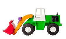 Toy Excavator Isolated Stock Image