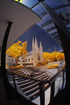 Historical Church And Yellow Leaf Stock Image