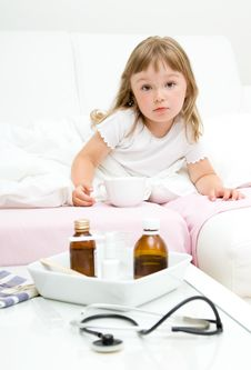 Free Sick Little Girl Stock Image - 15139391