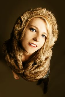 Free Elegant, Sexy Girl With Fur Coat Royalty Free Stock Image - 15139396