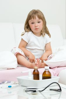Free Sick Little Girl Stock Photos - 15139513