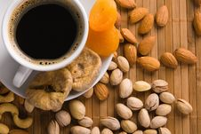 Free Coffee With Nuts, Fig And Dried Apricots Stock Photography - 15139652