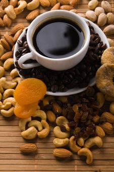 Free Coffee With Nuts, Fig And Dried Apricots Royalty Free Stock Photos - 15139658