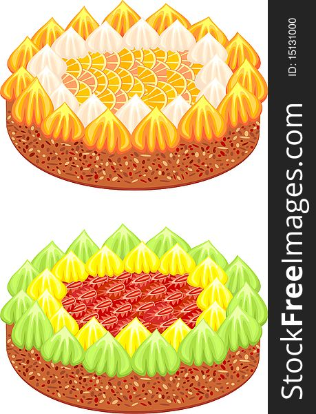 Festive cakes with fruit and whipped cream