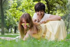 Two Young Girls Having Fun Outdoors Stock Photography