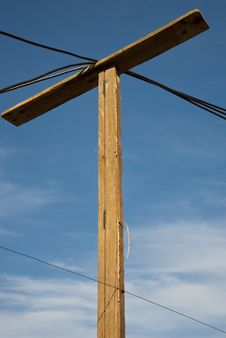 Electricity Pole In Township Stock Photo