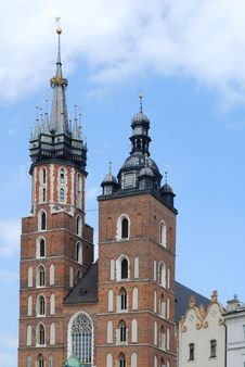 The Tower Of Mariacki Church In Cracow Stock Photography