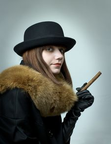 Free Portrait Of Young Woman With Cigar Royalty Free Stock Photos - 15141468
