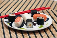 Free Sushi On The Table-cloth Royalty Free Stock Photography - 15141987