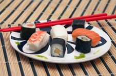 Sushi And Wasabi On The Table-cloth Stock Photos