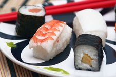 Free Sushi On The Table-cloth, Detail Stock Photo - 15142060