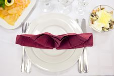 Place Setting In Red And White Tones. Royalty Free Stock Photos