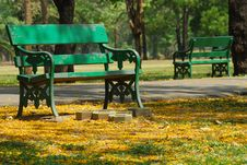 Two Green Bench Royalty Free Stock Images