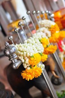 Chain Of Flowers In Temple Stock Image