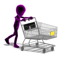 Free Symbolic 3d Male Toon Character Goes Shopping Royalty Free Stock Photos - 15143988