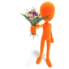 Free Symbolic 3d Male Toon Character Give You Flowers Royalty Free Stock Images - 15143999