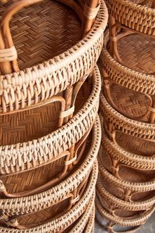 Free Rattan Of Food Deck Royalty Free Stock Photography - 15144717