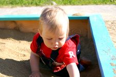 Free The Small Child Plays To A Sandbox Stock Images - 15144804