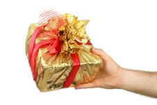 Free The Man S Hand Holds A Gift A Box Royalty Free Stock Images - 15145909
