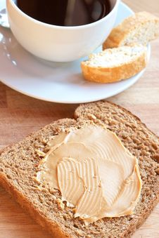 Tasty Healthy Wholewheat Bread And Coffee Stock Photo