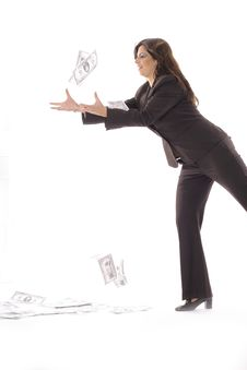 Free Woman In Business Suit Catching Money Vertical Royalty Free Stock Image - 15146556