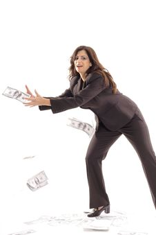 Free Business Woman Catching Money Center Stock Photo - 15146560