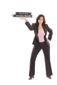 Free Happy Woman In Business Suit Holding Pizzas Stock Photos - 15146583