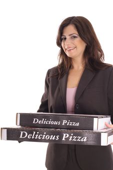 Free Woman In Business Suit Carrying Pizzas Royalty Free Stock Images - 15146589