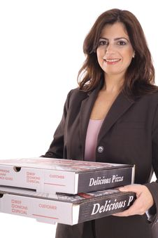 Free Happy Woman In Business Suit Carrying Pizzas Stock Images - 15146594